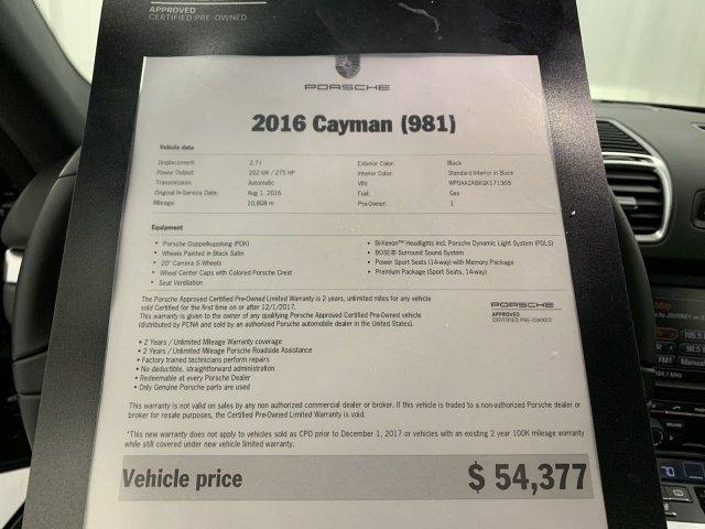 Certified Pre-Owned 2016 Porsche Cayman RWD